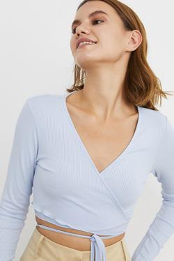 Belden Bağcıklı Kruvaze Örme Bluz