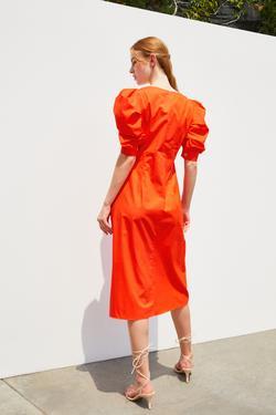 Balon Kol Büzgülü Midi Elbise