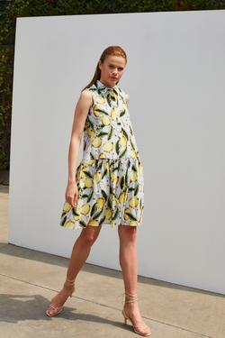 Desenli Büzgülü Poplin Elbise