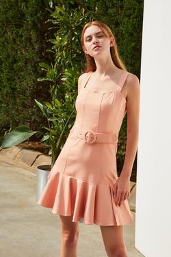 Kemerli Kalın Askılı Volanlı Mini Elbise