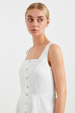 Sıfır Kollu Keten  Elbise
