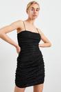 Askılı Büzgülü Mini Tül Elbise