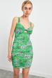 Kalın Askılı Büzgülü Dar Elbise