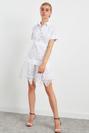 Kısa Kol Gömlek Yaka Güpür Mini Elbise