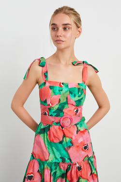 Kemerli Ayarlanabilir Askılı Midi Elbise