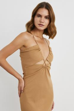 İp Askılı Kısa Örme Elbise
