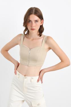 Önü Fermuarlı Askılı Crop Bluz