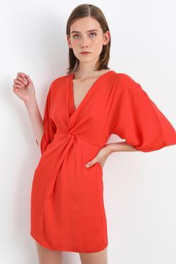 Düğümlü V Yaka Mini Elbise