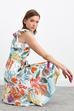 V Yaka Bağlamalı Desenli Keten Elbise