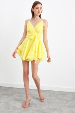 Kruvaze Yaka Askılı Mini Elbise