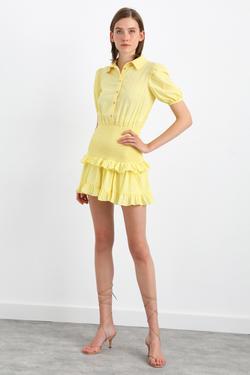 Kısa Kol Beli Lastikli Mini Elbise