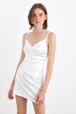 Büzgülü Askılı Mini Elbise