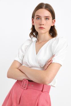 V Yaka Balon Kol Bağlamalı Keten Bluz