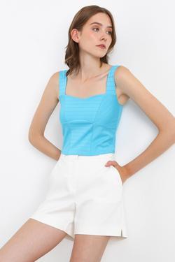 Kalın Askılı Crop Bluz