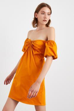 Düşük Omuz Balon Kol Mini Elbise