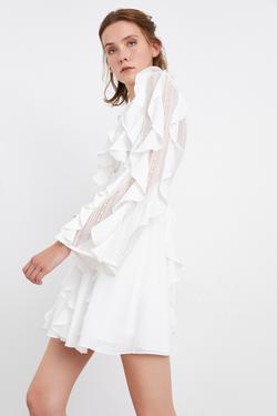 Volanlı Dantel Detaylı Mini Elbise