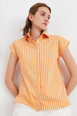 Vatkalı Kolsuz Çizgili Gömlek