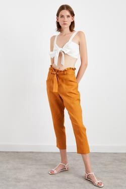 Kuşaklı Cepli Keten Pantolon