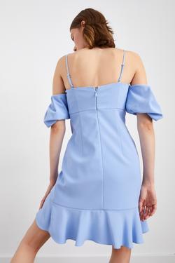 Askılı Eteği Volanlı Elbise