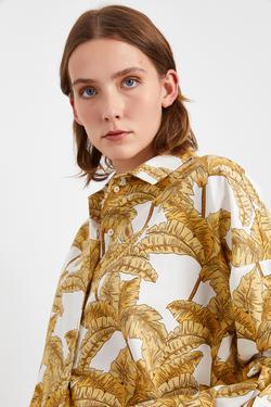 Uzun Kollu Desenli Gömlek Yaka Tunik