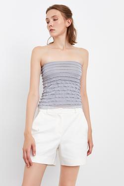 Fırfırlı Crop Örme Bluz
