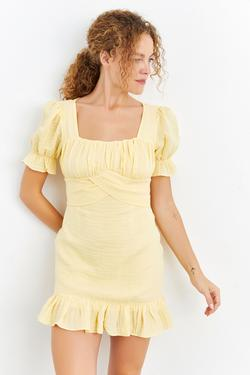 Sırt Dekolteli Balon Kol Mini Elbise