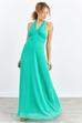 V Yaka Pileli Uzun Şifon Elbise