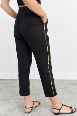 Beli Lastikli Baglama Detaylı Keten Pantolon