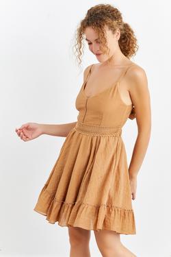 Dantel Şeritli Askılı Mini Elbise