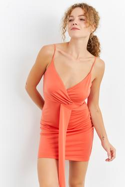 Askılı Mini Örme Elbise