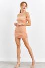 Straplez Kısa Kol Büzgülü Dar Mini Elbise