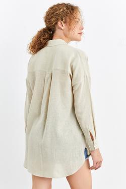 Uzun Kol Yanı Yırtmaçlı Keten Tunik