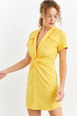 Düşük Kol Cepli Mini Elbise