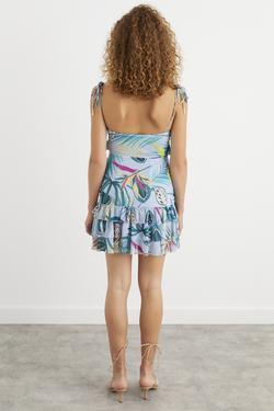 Askılı Volanlı Mini Tül Elbise