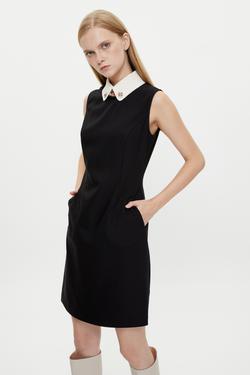 Yakası Aksesuar Detaylı Elbise