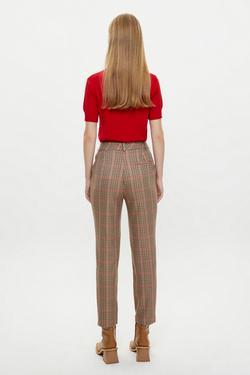 Yandan Cepli Ekose Desenli Pantolon
