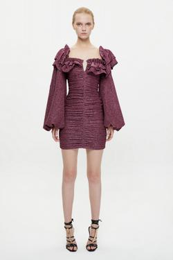 Büzgülü Balon Kol Mini Elbise