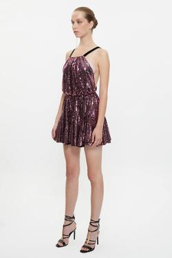 Sırtı Dekolteli Volanlı Mini Elbise