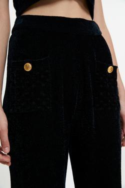 Cepleri Düğmeli Triko Pantolon