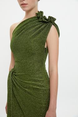 Tek Omuz Büzgülü Asimetrik Elbise