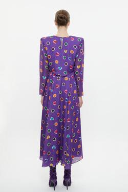 Yarım Boğazlı Yırtmaçlı Uzun Elbise