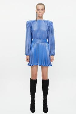 Omuzları Vatkalı Piliseli Mini Elbise