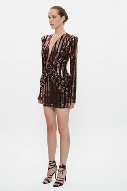 Yanları Pilili Vatkalı Mini Elbise