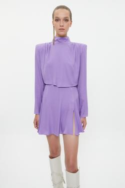 Pili Detaylı Yırtmaçlı Mini Elbise