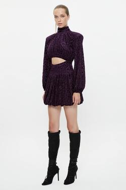 Büzgülü Dekolteli Mini Yakma Kadife Elbise