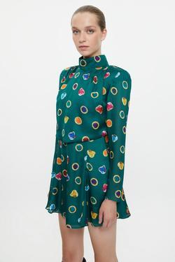 Pili Detaylı Yırtmaçlı Desenli Mini Elbise