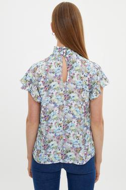 Kolları Volanlı Gipeli Desenli Bluz