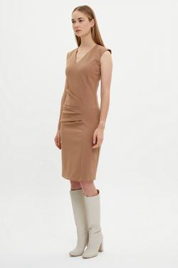 V Yaka Asimetrik Kesimli Elbise