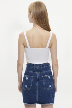 Pencere Detaylı Kalp Yaka Crop Bluz