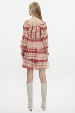 Eteği Büzgülü Gipeli Desenli Mini Elbise